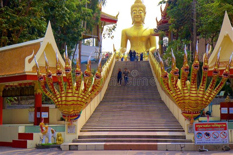 Buddha statue, Pattaya, Thailand. Stairs and Buddha statue in Pattaya, Thailand royalty free stock photos