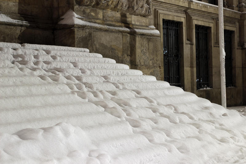 Stairs covered in snow royalty free stock image