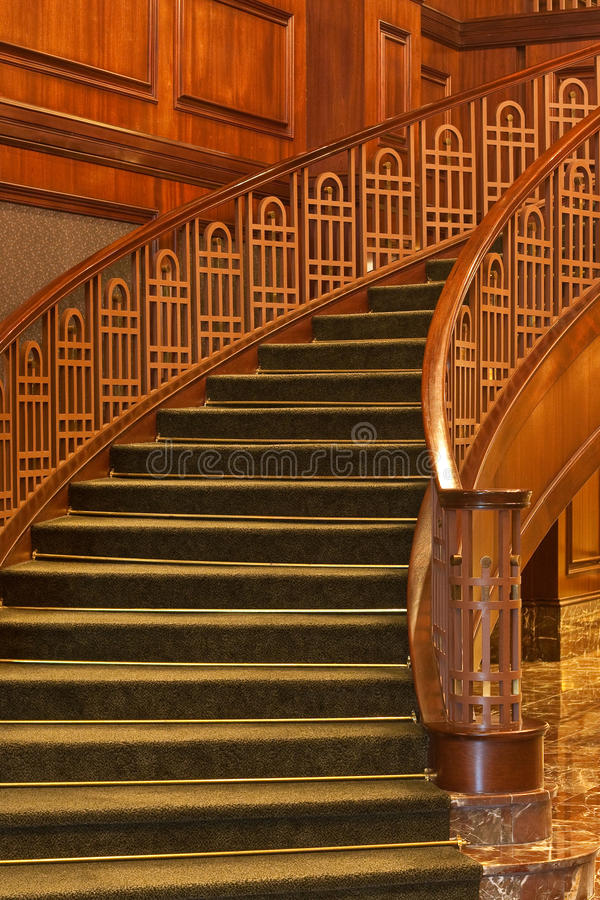 Stairs Curving from Marble Floor stock image