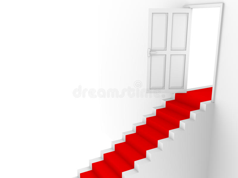 Stairs Door And Red Carpet Royalty Free Stock Photo