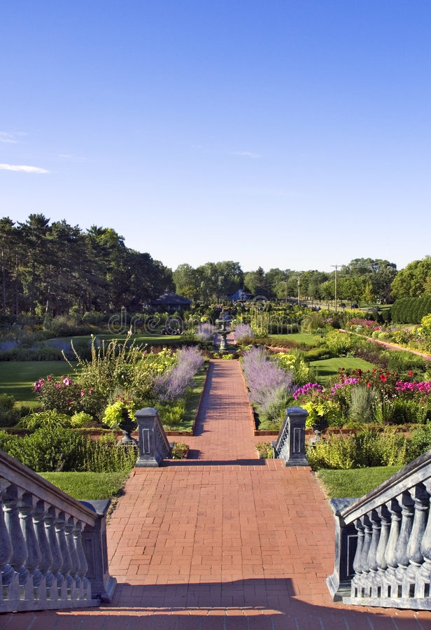 Stairs Down into Formal Garden royalty free stock photo