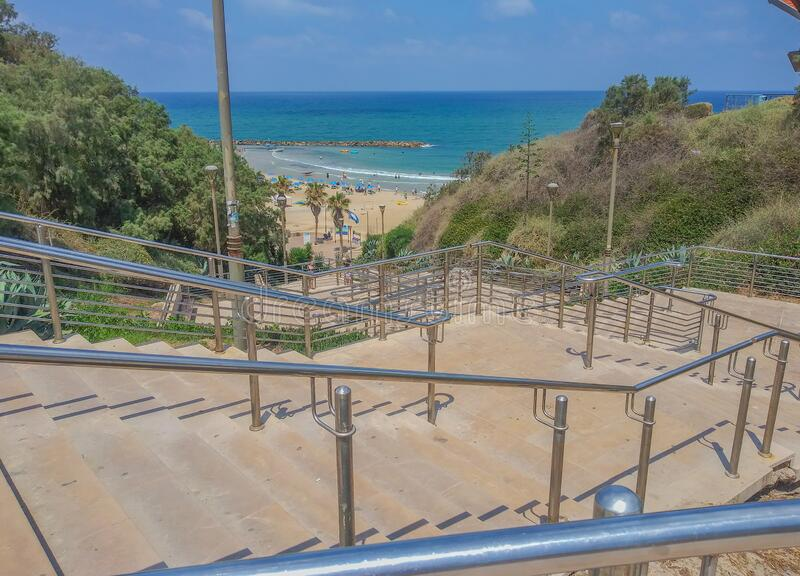 Stairs down to Netanya Beach on Mediterrranean Sea, in the resort city of Netanya. Israel.  royalty free stock images
