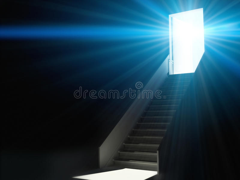 Stairs going up to the light vector illustration