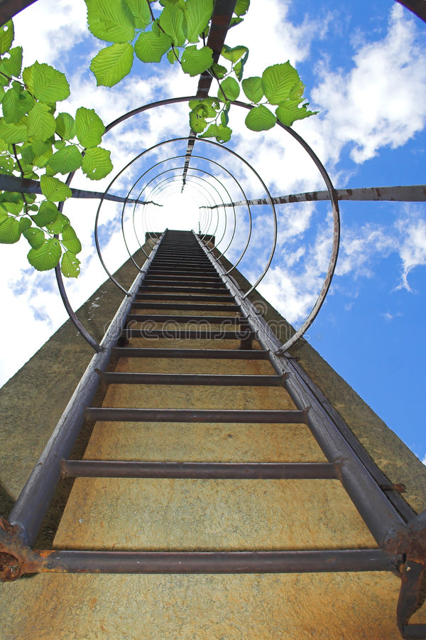Stairs going up to sky stock photos