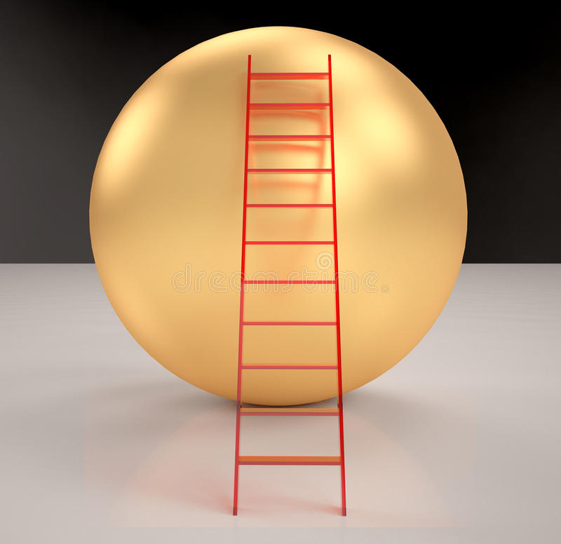 Stairs on gold Spheres rendered. On background royalty free illustration