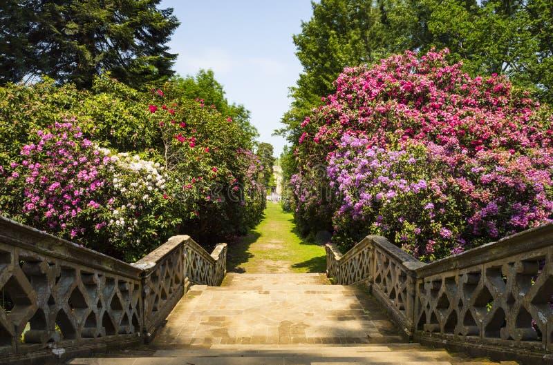 Stairs in Hever Gardens. Hever Castle & Gardens, Hever, Edenbridge, Kent, England, United Kingdom royalty free stock photography