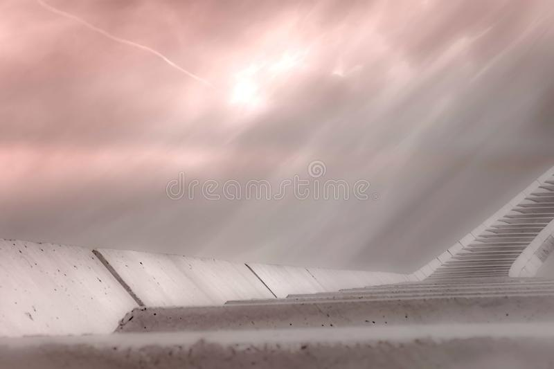 Stairs high to a beautiful soft pink sky, the road to heaven royalty free illustration