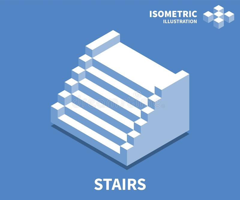 Stairs icon, vector illustration in flat isometric 3D style vector illustration