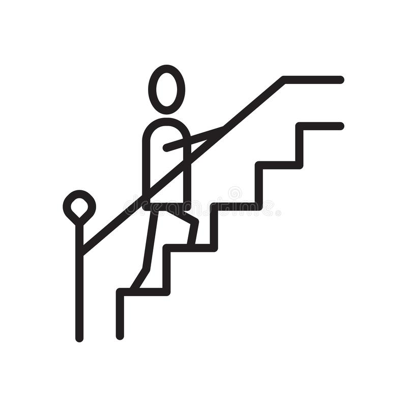 Stairs icon vector isolated on white background, Stairs sign , linear symbol and stroke design elements in outline style stock illustration