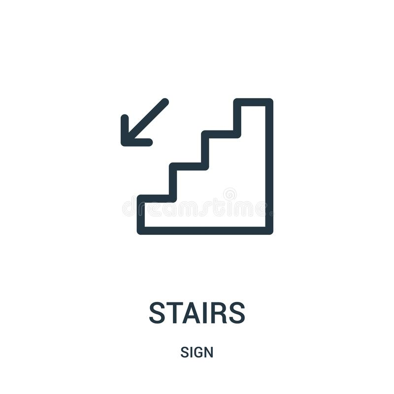 stairs icon vector from sign collection. Thin line stairs outline icon vector illustration stock illustration