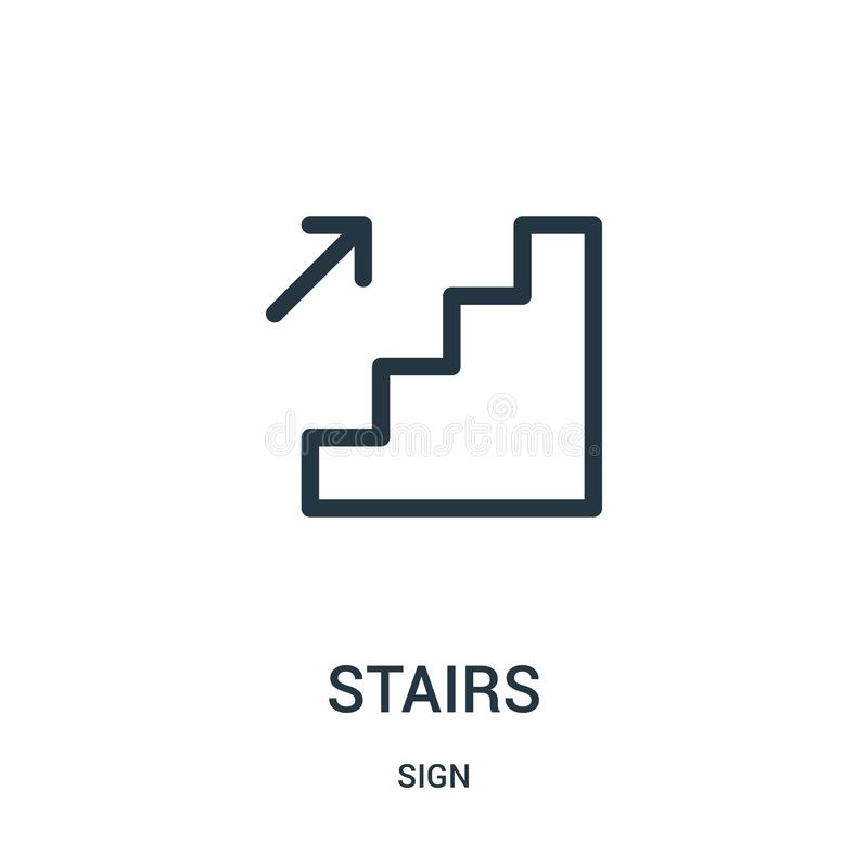 stairs icon vector from sign collection. Thin line stairs outline icon vector illustration royalty free illustration