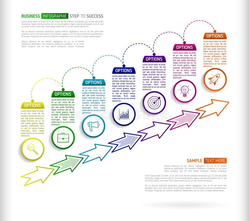 Stairs infographic design template with 7 multi colored successively connected circular elements with icons, and text boxes. Abstract seven stairs to success stock illustration