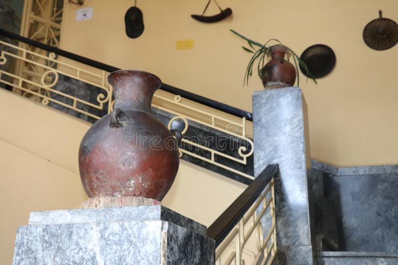 Former palace of Haile Selassie, now Ethnographic museum. Stairs and a jar in the former palace of Haile Selassie, Ethnographic museum royalty free stock photography