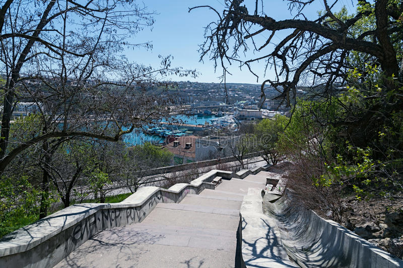 Stairs leading down to the Bay of Sevastopol royalty free stock photo