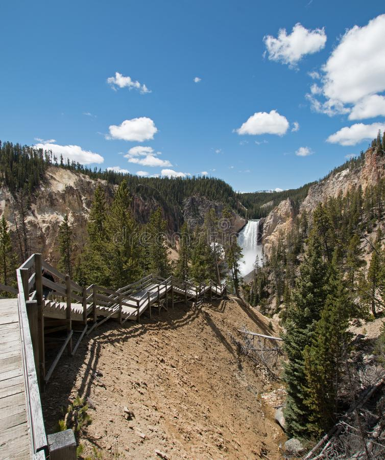 Stairs leading down to view of the Lower Falls in the Grand Canyon of the Yellowstone River in Yellowstone National Park in USA stock photos