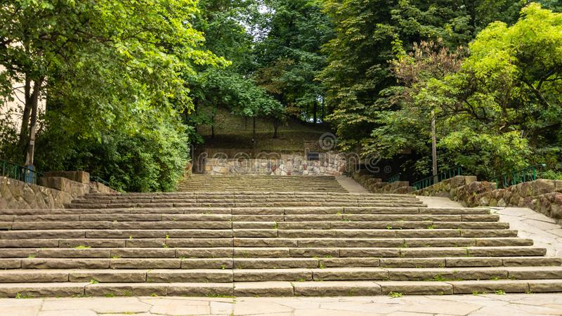 Stairs leading to the Bednarski Park. Cracow. Poland royalty free stock photography