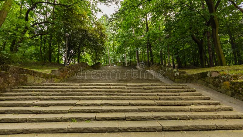 Stairs leading to the Bednarski Park. Cracow. Poland royalty free stock photos
