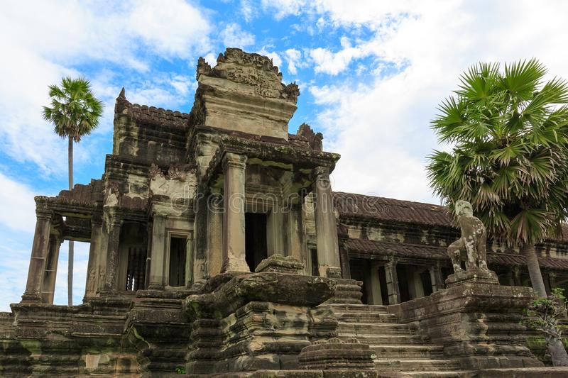 Stairs Leading to the Center of Cambodia`s Angkor Wat Temple stock photo
