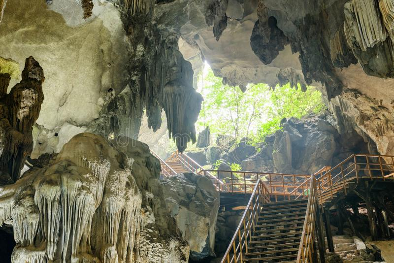 Stairs leading to exit from Tien Son Cave, Vietnam royalty free stock image