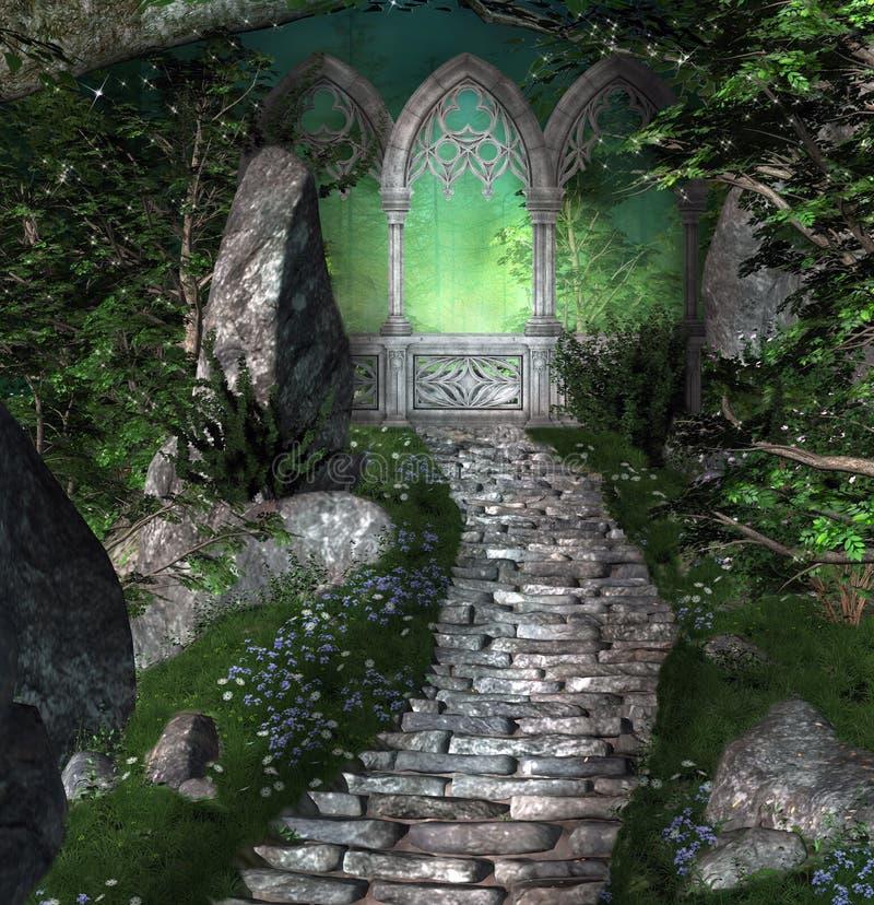 Mysterious portal inside a dark forest stock illustration