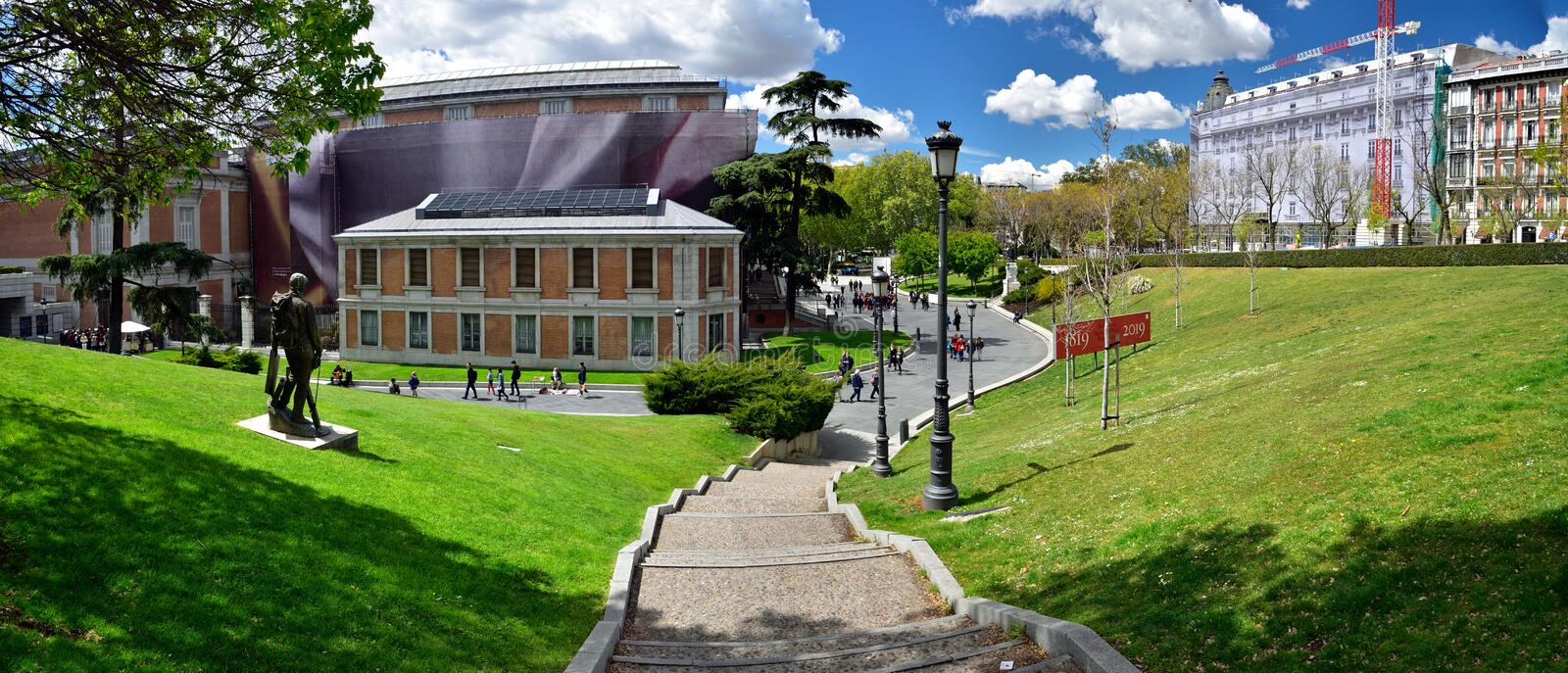 A stairs leading to the Prado Museum a major cultural landmark in Madrid. MADRID / SPAIN - APRIL 11, 2019 - Stairs leading to the Prado Museum a major cultural royalty free stock photos