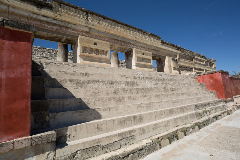 Stairs leading to Zapotec temple in Mitla. Stairs leading to ancient Zapote temple in Mitla Oaxaca Mexico royalty free stock photos