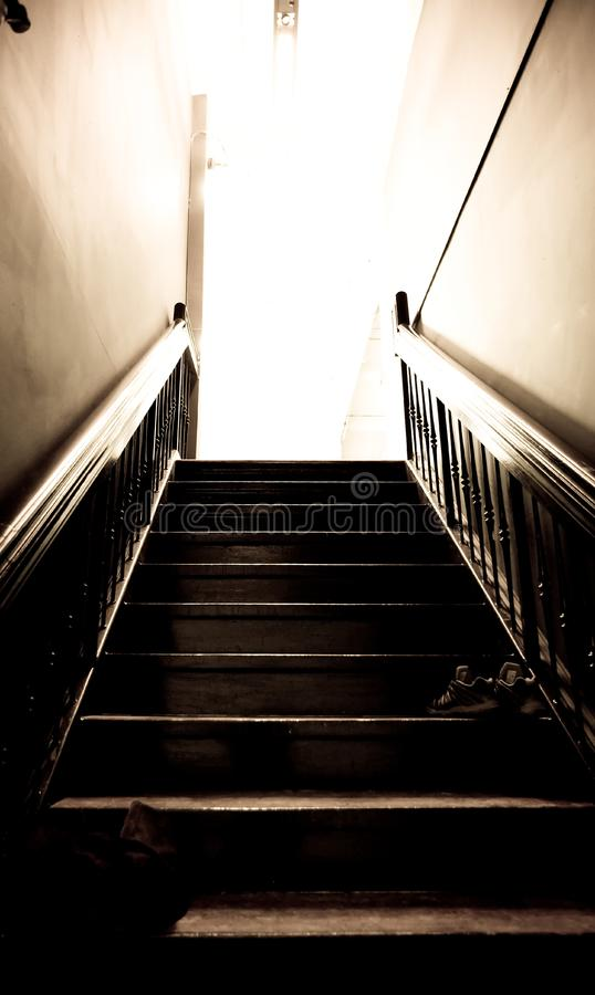 Stairs leading up to a studio royalty free stock photography