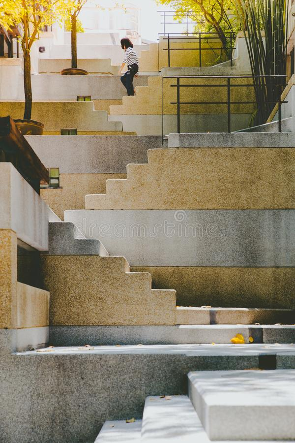 Stairs leading upward, architectural composition stock photo