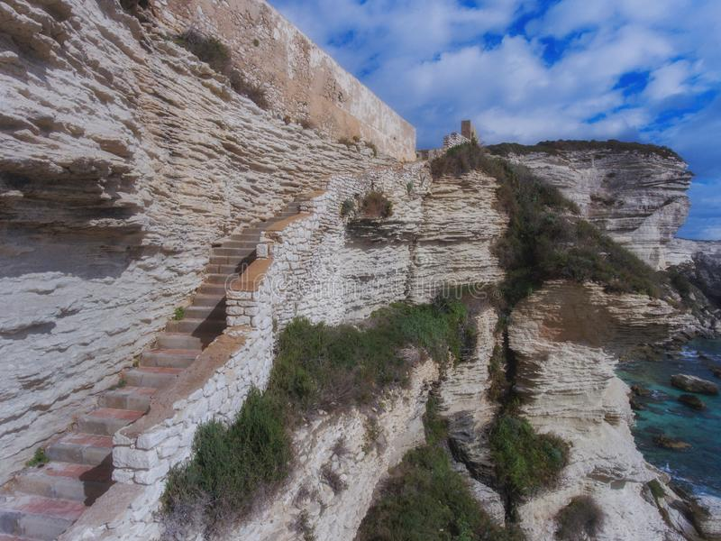 Stairs in the limestone wall. Corsica Island, Bonifacio, France stock photo