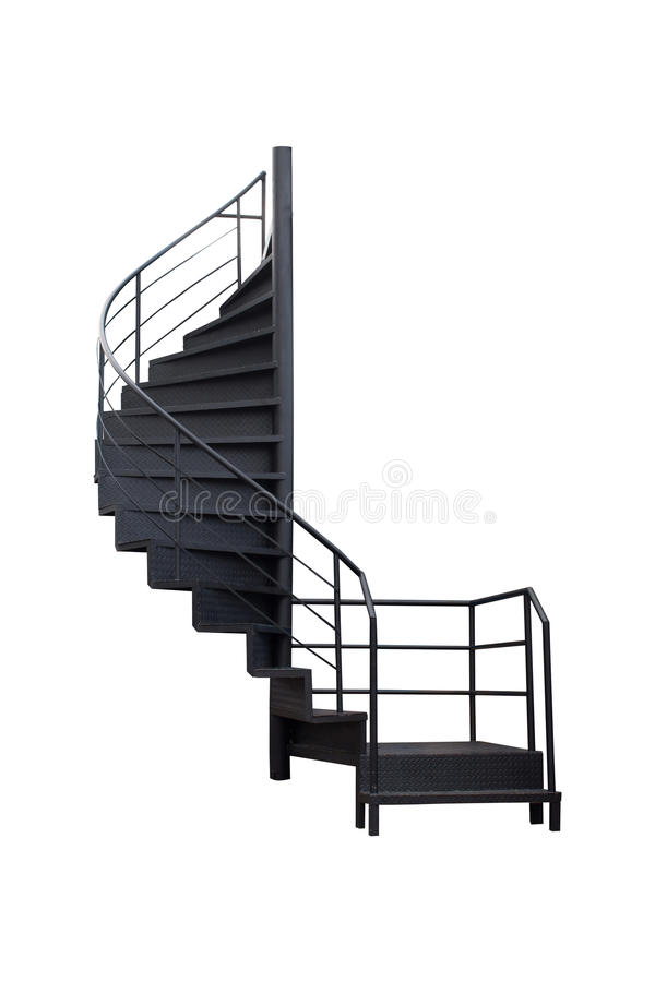 The stairs are made of black painted steel on white background. royalty free stock photography