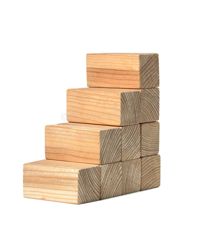 Stairs of natural color wooden blocks. Isolated on white stock photos