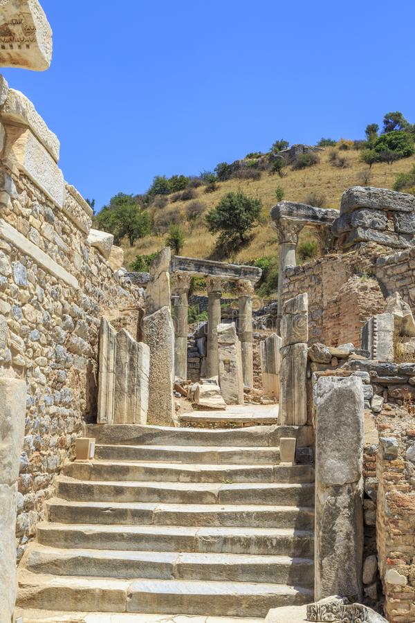 Stairs near terrace houses in Ephesus, Izmir, Turkey. Stairs near terrace houses in Ephesus, Selcuk, Izmir, Turkey royalty free stock photo