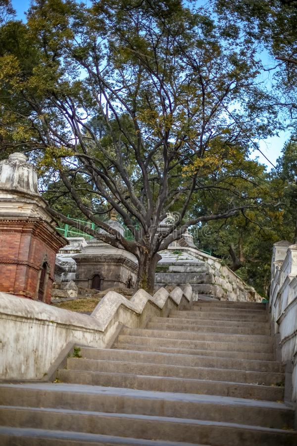 Stairs of pashupatinath. Stairs and old ancient temple structures at Pashupatinath Temple in Kathmandu stock photography