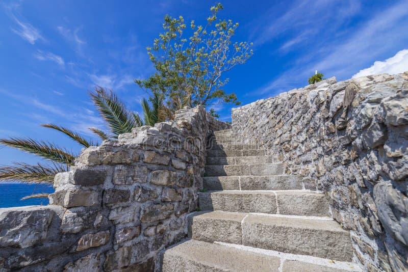 Citadel in Budva. Stairs in Old Town citadel of Budva coastal town, Montenegro stock photo