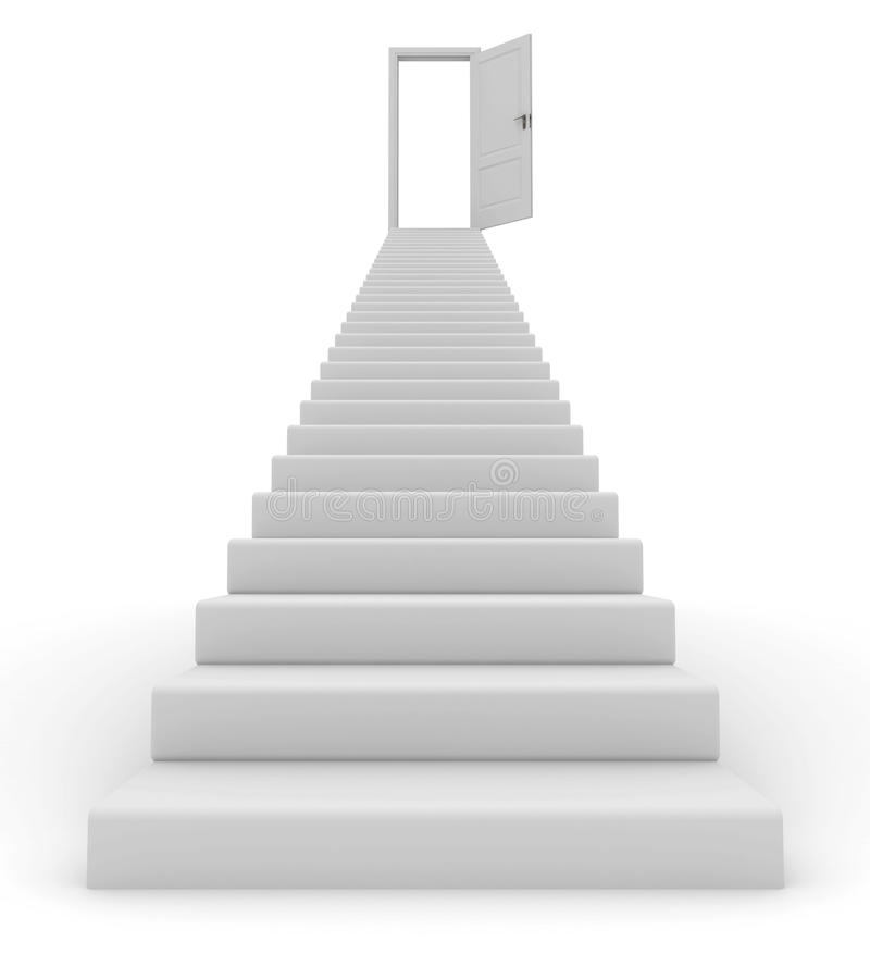 Stairs and open door. 3D render royalty free illustration