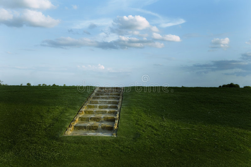 Download Stairs on an Open Hillside stock photo. Image of clouds - 1935544
