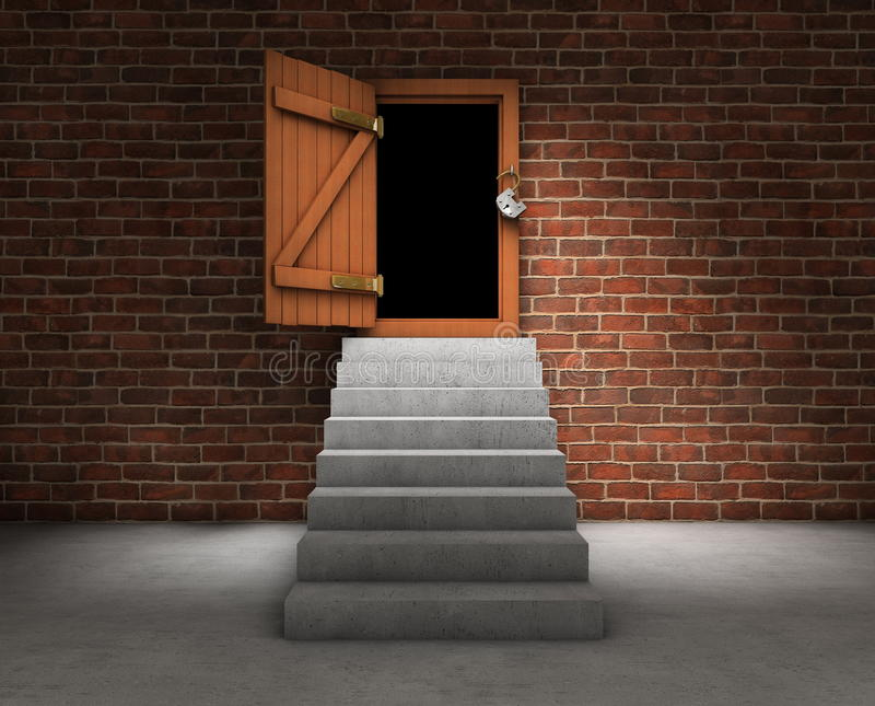 Stairs with opened door. Stairs leading to an opened door with dark outside vector illustration