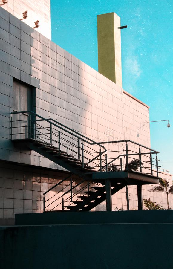 Stairs outside a factory royalty free stock photo