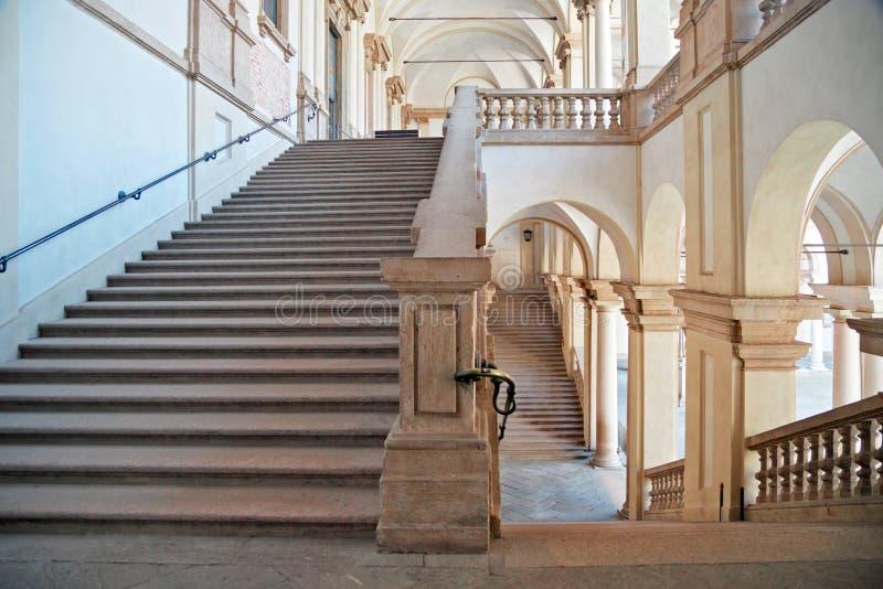Stairs of Pinacoteca di Brera, Milan, horizontal. Milan, Italy - July 28, 2013: Horizontal composition of stairs of Pinacoteca di Brera. These scales are inside stock photography