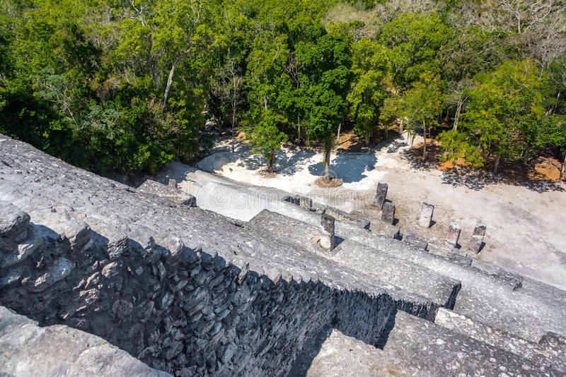 Stairs on Pyramid in Calakmul, Mexico stock photos