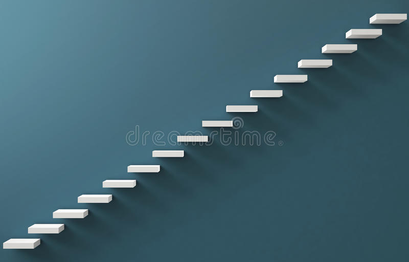 Stairs Rendered on the blueWall. Stairs Rendered on the blue Wall, 3d illustration vector illustration