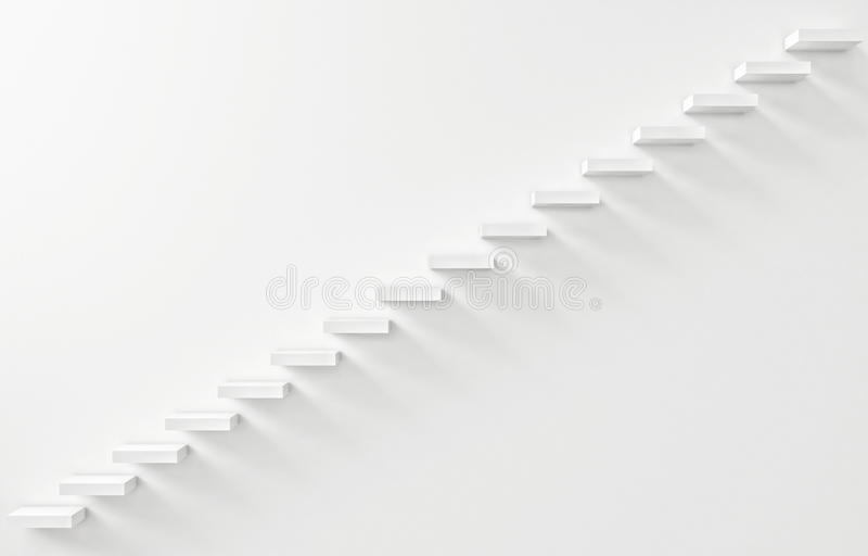 Stairs Rendered on the White Wall. 3d illustration stock illustration