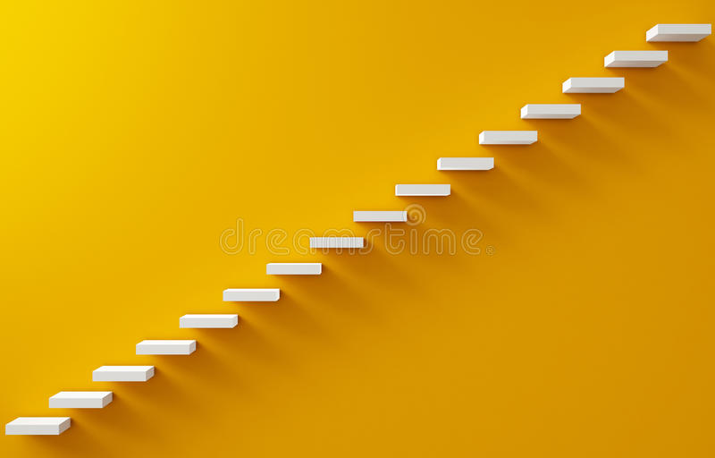 Stairs Rendered on the Yellow Wall. 3d illustration royalty free illustration