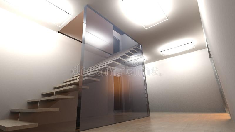 Stairs in a room having glass wall - 3D rendering illustration royalty free illustration