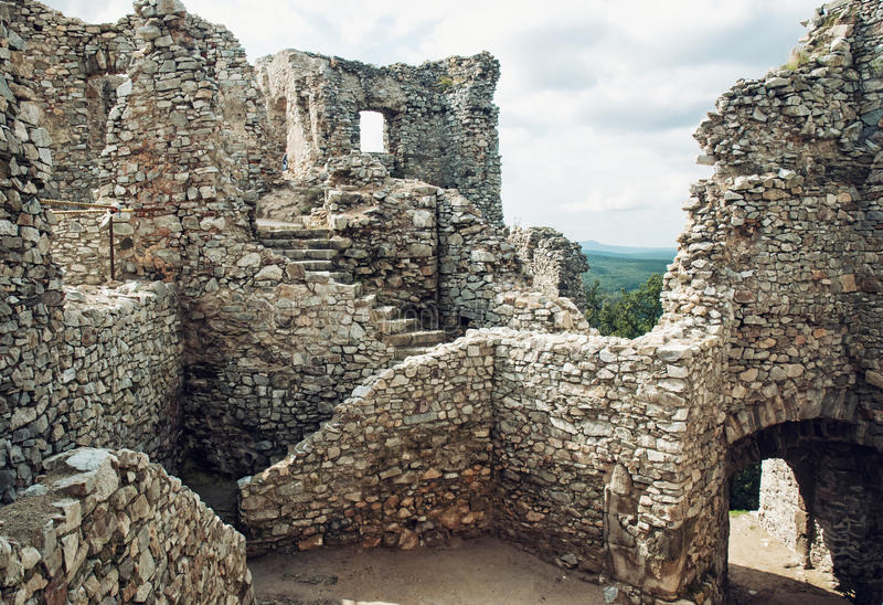Stairs in ruin of castle Hrusov, Slovakia, cultural heritage royalty free stock image