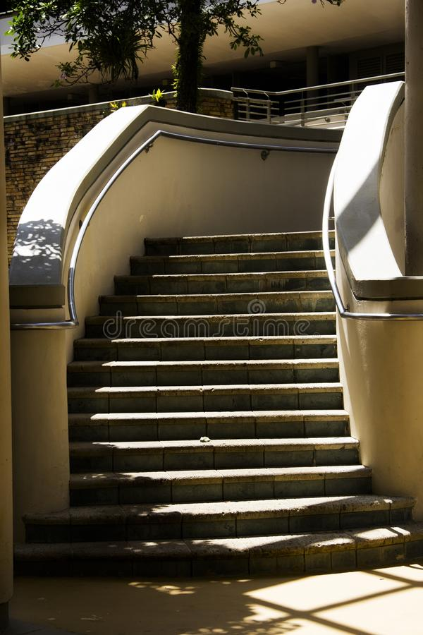 Stairs in the shade and sun royalty free stock image