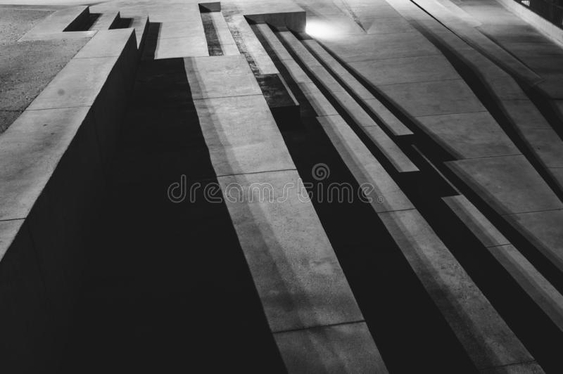 Stairs and shadows in the night, abstraction. Embankment of Il-Birgu royalty free stock photo