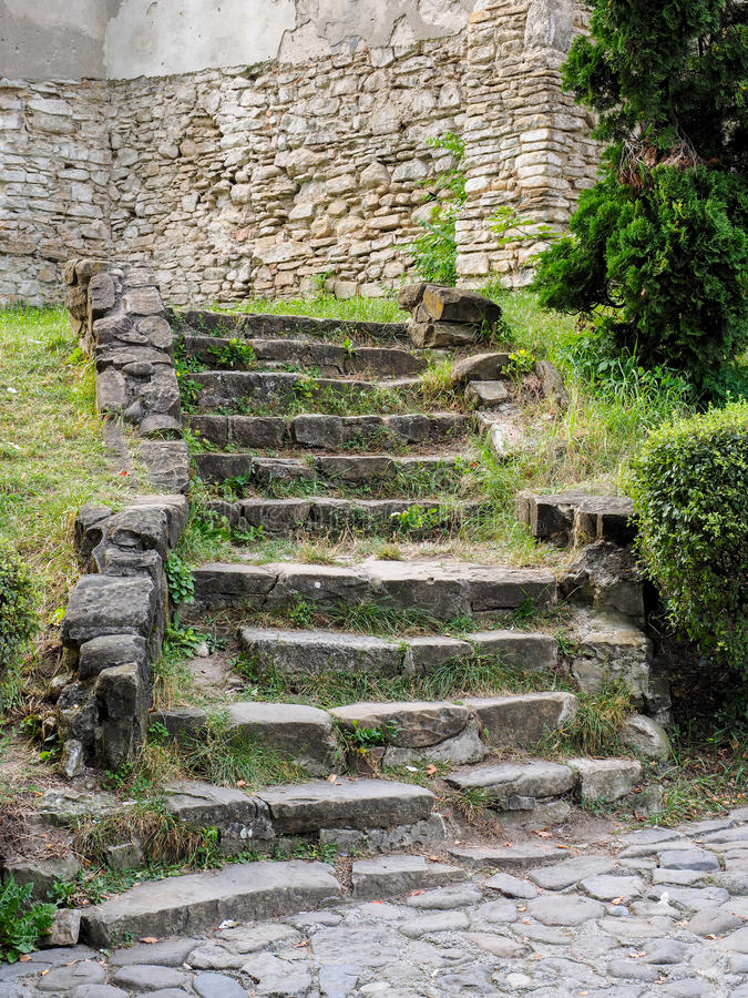Stairs in Sighisoara. Stairs made of stone leading to the cathedral in Sighisoara Citadel stock images