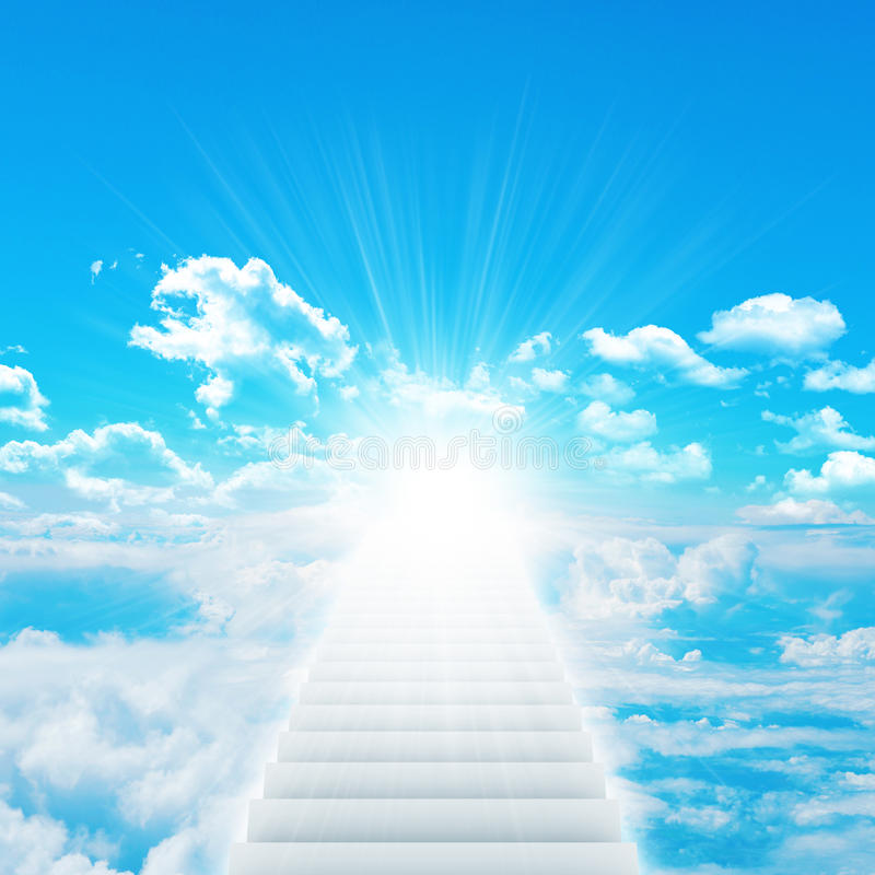 Stairs in sky with clouds and sun. Concept background royalty free stock images