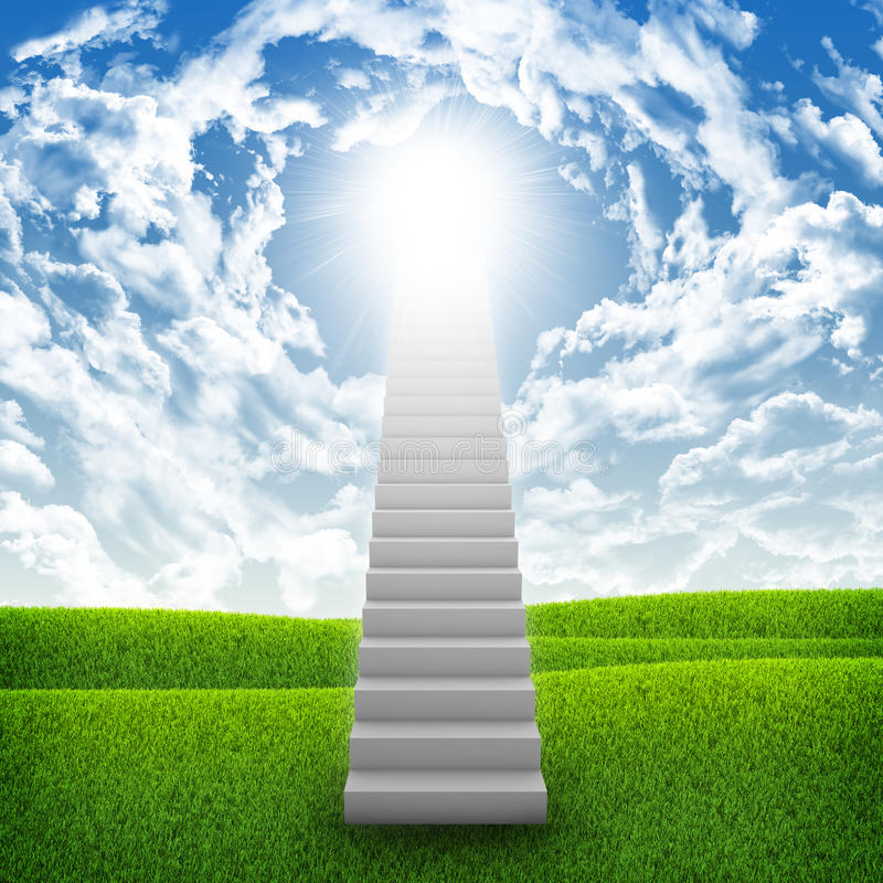Stairs in sky with green grass, clouds and sun. Concept background stock image